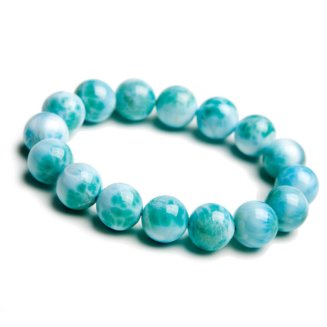 Fashion Stretch Charm Bracelets For Women Mens Genuine Blue Pectolite Larimar Round Bead Crystal Natural Stone Bracelet