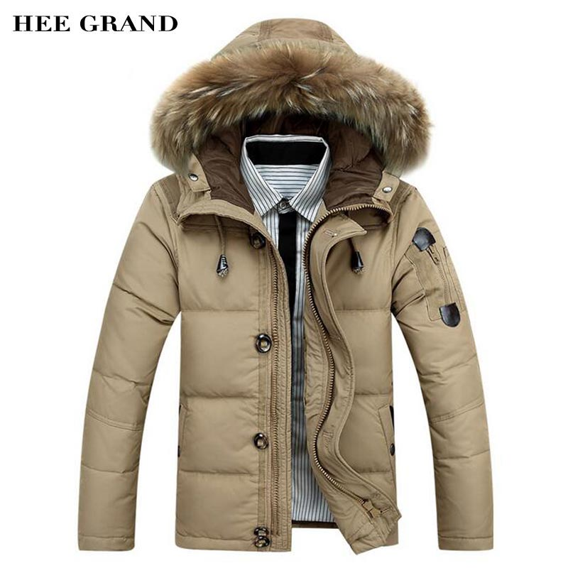 HEE GRAND Men Winter Warm   Down     Coat   2018 New Arrival With Fur Hat Natural Color Regular Male Waterproof Thick Outwear MWM1691