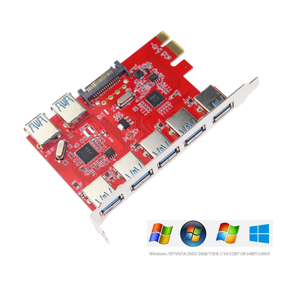 PCI-E To 5Gbps USB 3.0 Expansion Card PCI Express 5/7 Ports USB 3.0 Hub Controller Adapter With 15 Pin SATA Power Connector