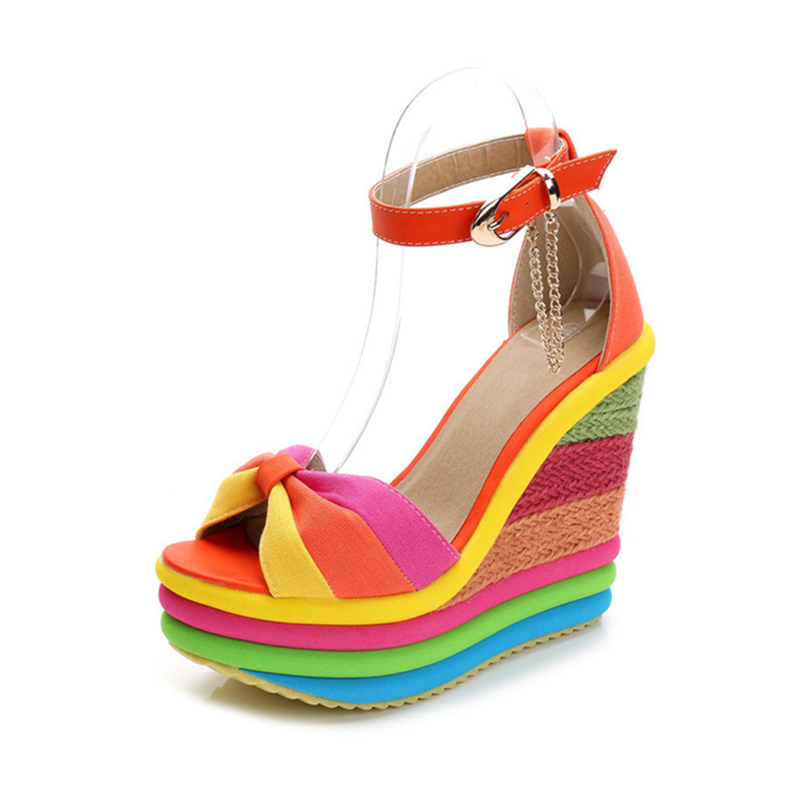 Womens Platform Sandals Summer Shoes Fashion Rainbow High Heels Sandal Wedges Shoes For Women Summer Sandals 2019 Women ShoeWomens Platform Sandals Summer Shoes Fashion Rainbow High Heels Sandal Wedges Shoes For Women Summer Sandals 2019 Women Shoe