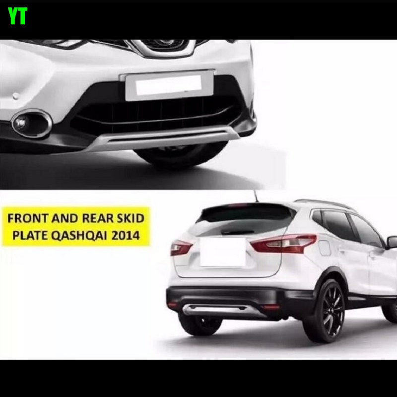 Auto front and rear skid plate skid bar for nissan qashqai J11 2014 2015 2016,ABS chrome, 2pcs/lot pair car front and rear bumper skid protector guard plate for nissan qashqai dualis j11 2014 2016 abs decoration accessories