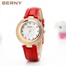 BERNY 2017 Top Brands Creative Watches Women Quartz Clock Role Ladies Dress Womens Rose Gold Wrist Watches Relogio 2730L