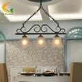 Lustres europeus quarto sala de jantar luminárias enforcamento arte retro lustre de ferro forjado preto e27