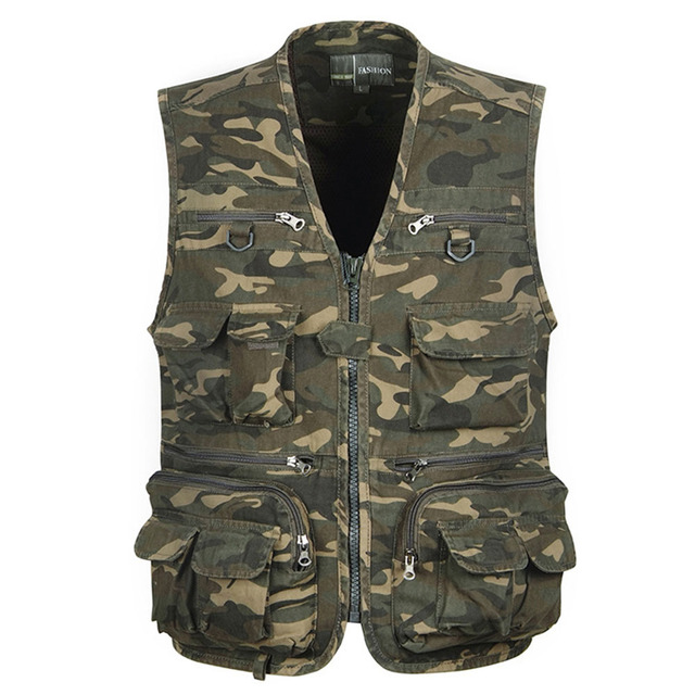 New Arrival Multi-pocket Demin Vest Men Photographer Camouflage Shooting Vest Jean Sleeveless Jacket with Many Pockets Zipper