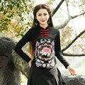 Plus Size T Shirt Negro Vino Tinto Otoño Patrón de Bordado Camisa de Algodón Mujeres de Manga Larga Casual Camisetas Ropa