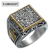 VAMOOSY 2018 Punk Ring For men Vintage Engagement Crown checkerboard 316L Titanium steel Ring For Men & Women Lord rock Rings цена