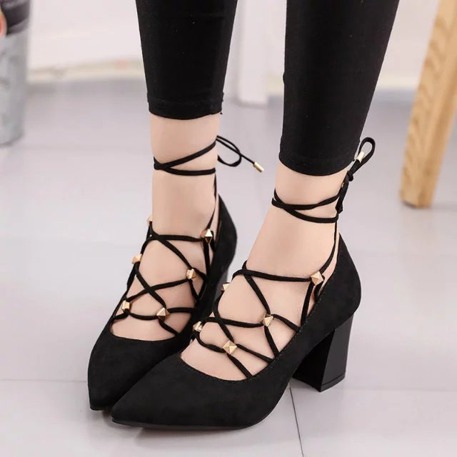 564e20b61a91 2017 New Summer Style women s Lace Up high heels Pointed Toe Bandage  Stiletto sandals celebrity pumps Rivet Gladiator Shoes