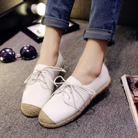 Spring Summer Korean Style Round Toe Lace Up White Flat Casual Shoes Woman Patchwork Hemp Rope