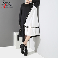 New 2018 Women Autumn Hit Color Black White Patchwork Asymmetrical Dress Metal Holes Plus Size Long Sleeve Midi Party Dress 3845