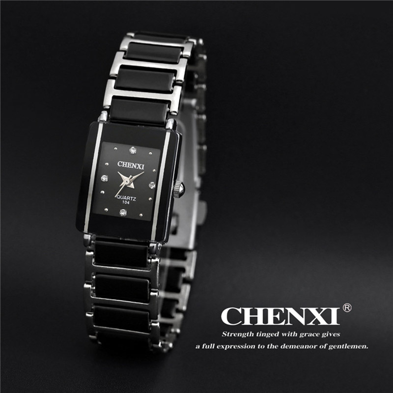 Casual Women Watch Classic Black Ceramics Armband Rhinestone Lady - Damklockor - Foto 2