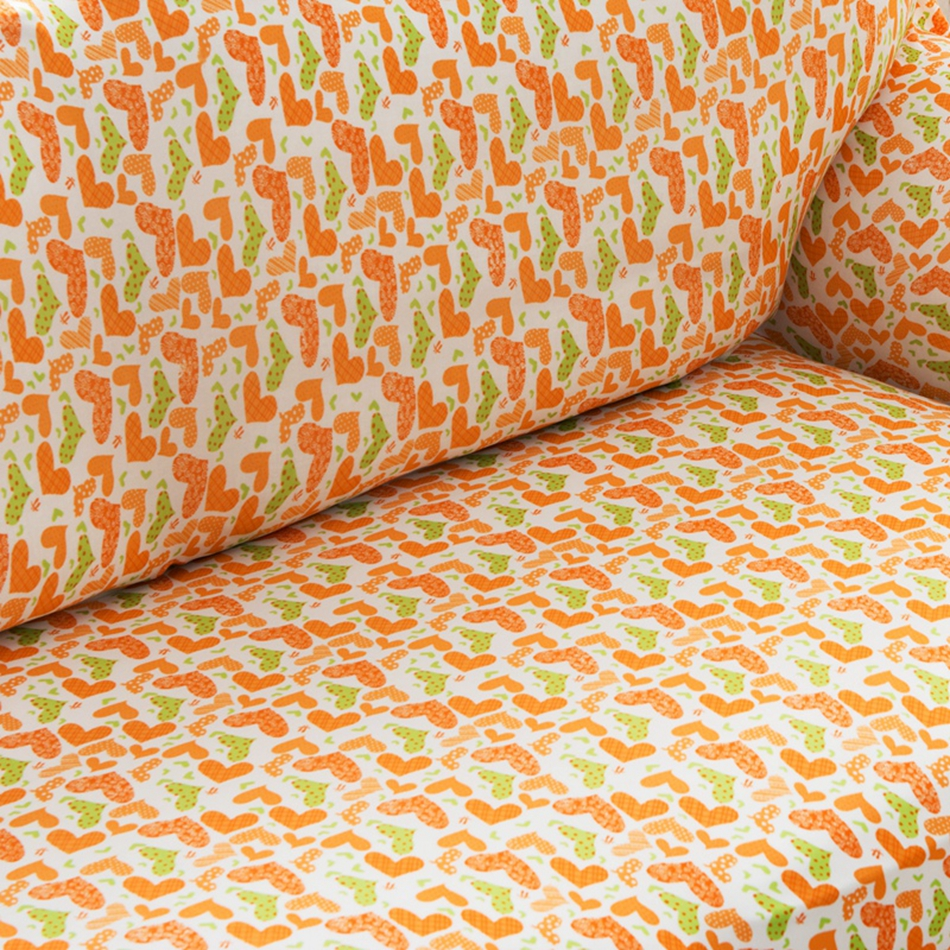 Orange Heart Pattern Couch Sofa Covers For Living Room Single Loveseat Corner Slipcovers Home Decoration In Cover From
