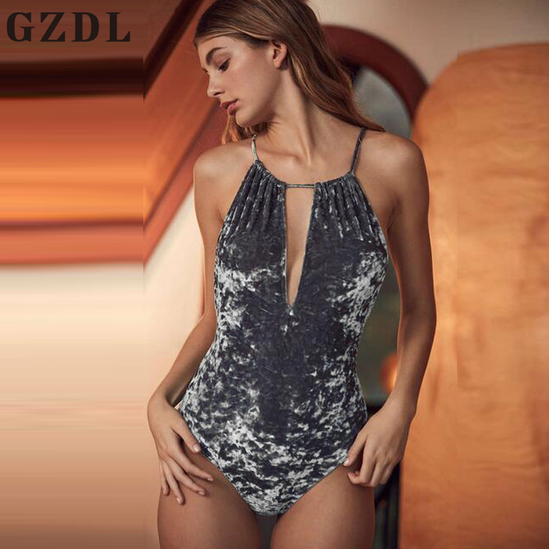 GZDL Sexy Womens Beach Party Halter Spaghetti Strap V Neck Bodycon Bodysuits Rompers Bandage Backless Velvet Jumpsuits CL3593