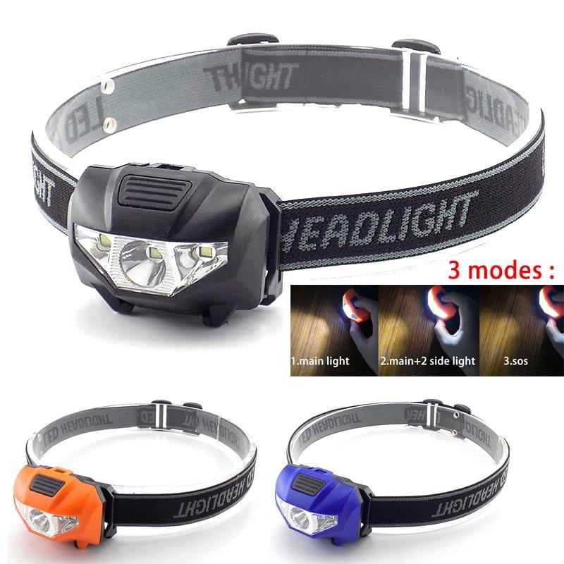 Headlight AAA battery Mini LED headlamp Head Light Torch Lamp Fishing mini Small Bright High Power Lantern Lampe for Camping