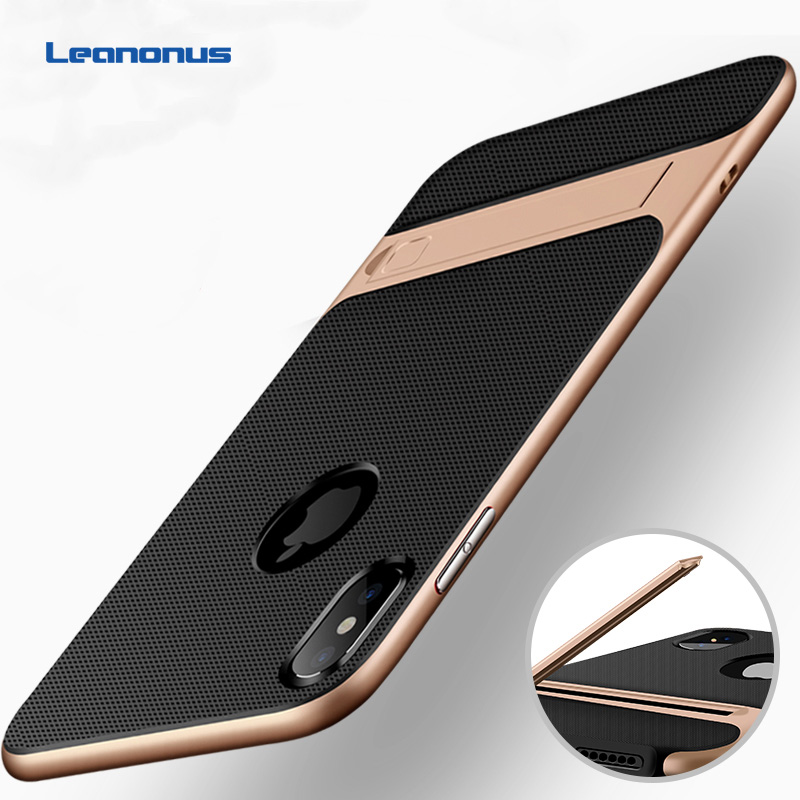 For Apple iPhone XS Case TPU Silicon Hybrid + PC Stand Holder Cover For iPhone X XS Max XR 7 Plus Hard Shockproof Plastic Coques iPhone XS