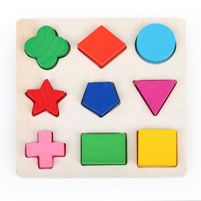 Wooden Geometric Shape Puzzle Toy Early Learning Educational Toys For Children Play Games Gift Colorful Baby Kids Wooden Toys