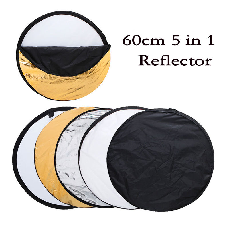 New 24 60cm 5 in 1 Portable Collapsible Light Round Photography Reflector for Studio Multi Photo Disc + Zipped Carrying BagNew 24 60cm 5 in 1 Portable Collapsible Light Round Photography Reflector for Studio Multi Photo Disc + Zipped Carrying Bag