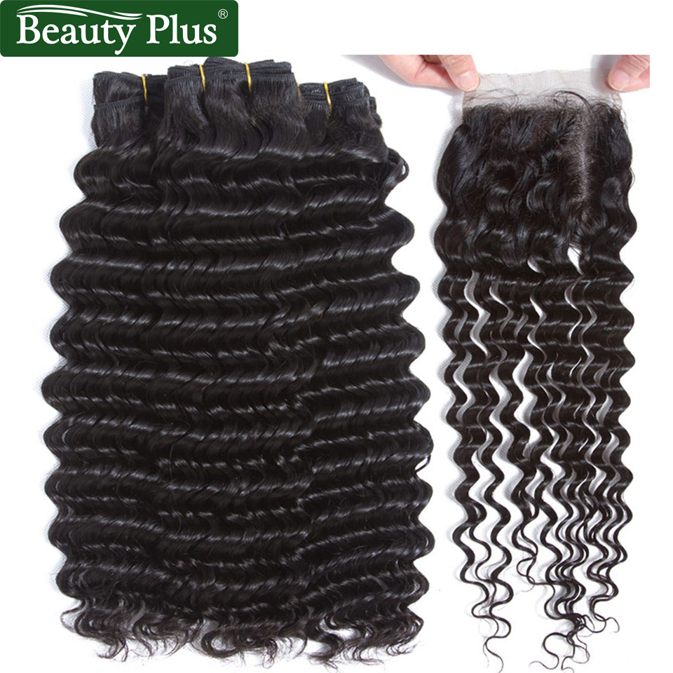 Peruvian Deep Wave Bundles With Closure Baby Hair Beauty Plus Remy Human Hair Weave Extensions Deep