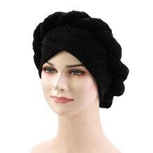 มุสลิมผู้หญิงกัญชาดอกไม้Braid Cross Velvet Turbanหมวกผ้าพันคอChemo BeanieหมวกHijab Headwear Head Wrapอุปกรณ์เสริม