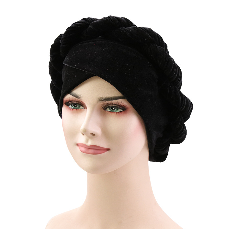 Muslim Women Hemp Flower Braid Cross Velvet Turban Hat Scarf 