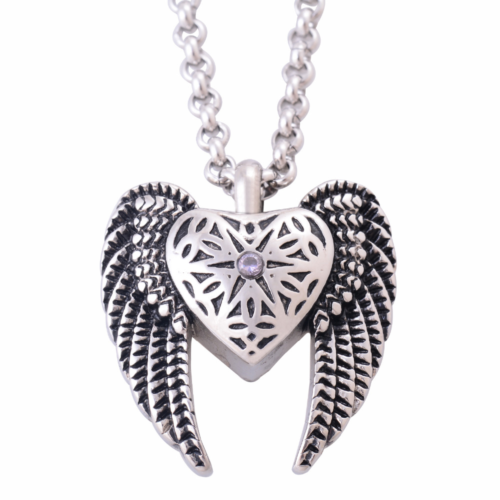 Vintage Stainless Steel Antique Silver Heart Angels Wings