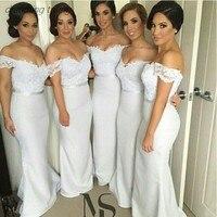 Белое платье подружки невесты длинные богемные атласные Русалка Вечерние вечернее платье для свадебной вечеринки платье 2019 Vestito Damigella Donna