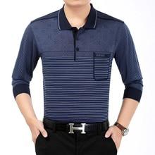 WAEOLSA Mature Men Shirts Cross Pinstripe Top Man Soft Wool Shirt Father Casual Blouse Blue Tops Male Comfort Leisure