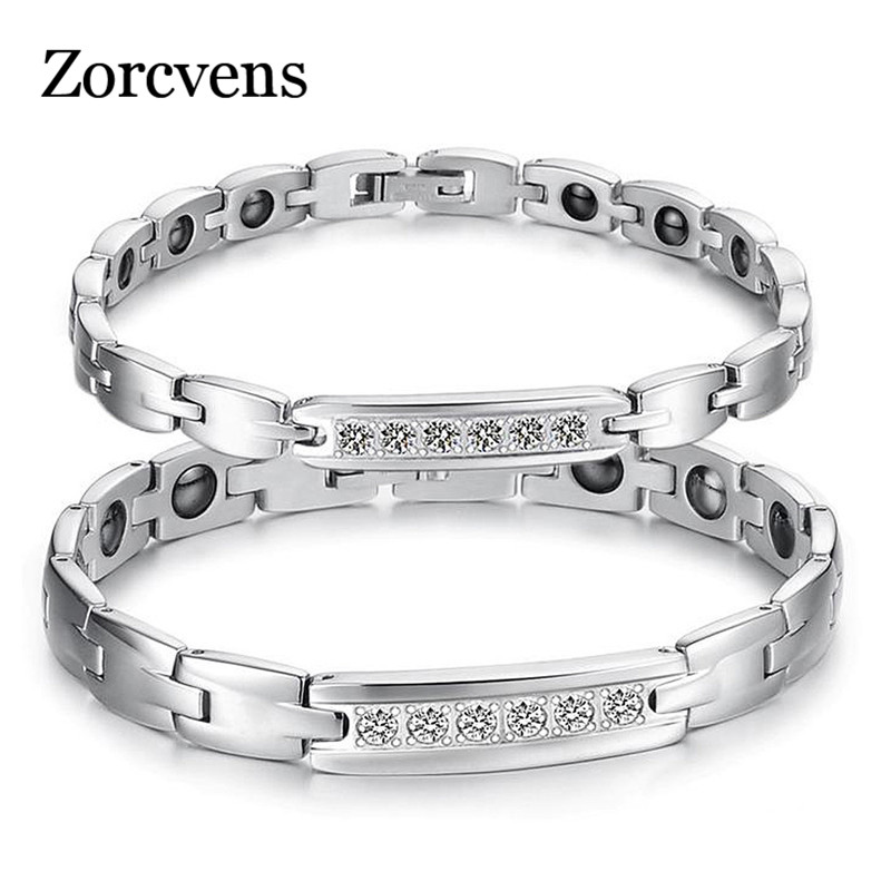 ZORCVENS Jewelry Couple Healthy Bracelet Healing Stainless Steel Magnet Stone Bracelets CZ Women Men Jewelry