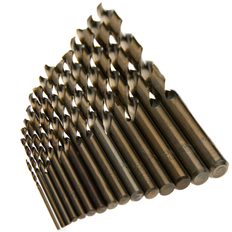 15pcs Cobalt Drill Bits For Metal Wood Working M35 HSS Co Steel Straight Shank 1 5