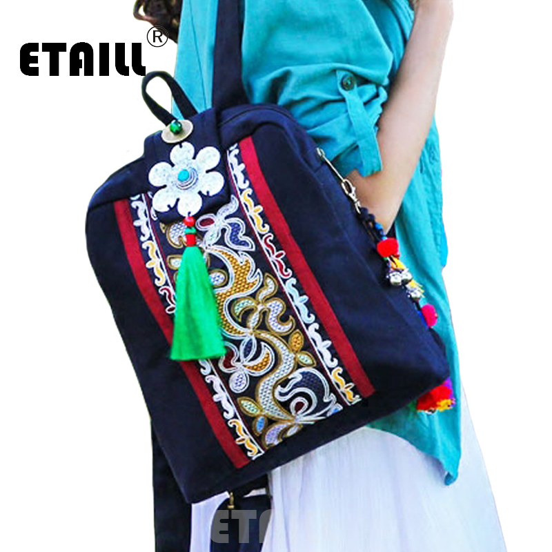 ETAILL Chinese Hmong Embroidery Ethnic Canvas Backpack Women Handmade Tassel Bell Flower Embroidered Bag Travel Backpack Mochila цена