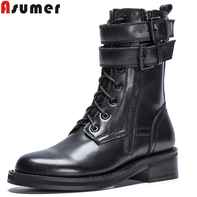 ASUMER 2018 fashion boots women autumn shoes woman round toe ankle boots med heels genuine leather boots buckle cross tied european style autumn genuine leather fashion ankle boots round toe zipper belt buckle high heels motorcycle boots women boots