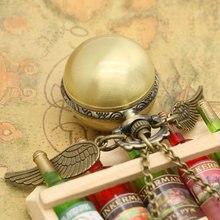 Fashion  Antique Steampunk Golden Wings Ball Shape Pocket Watch Men Woman Lady Children Necklace Pendant Little Clock Gifts