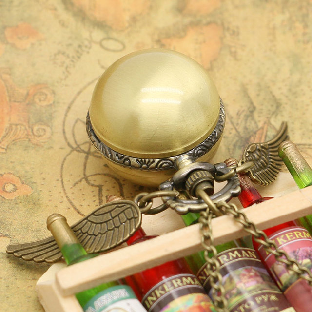 Fashion  Antique Steampunk Golden Wings Ball Shape Pocket Watch Men Woman Lady Children Necklace Pendant Little Clock Gifts