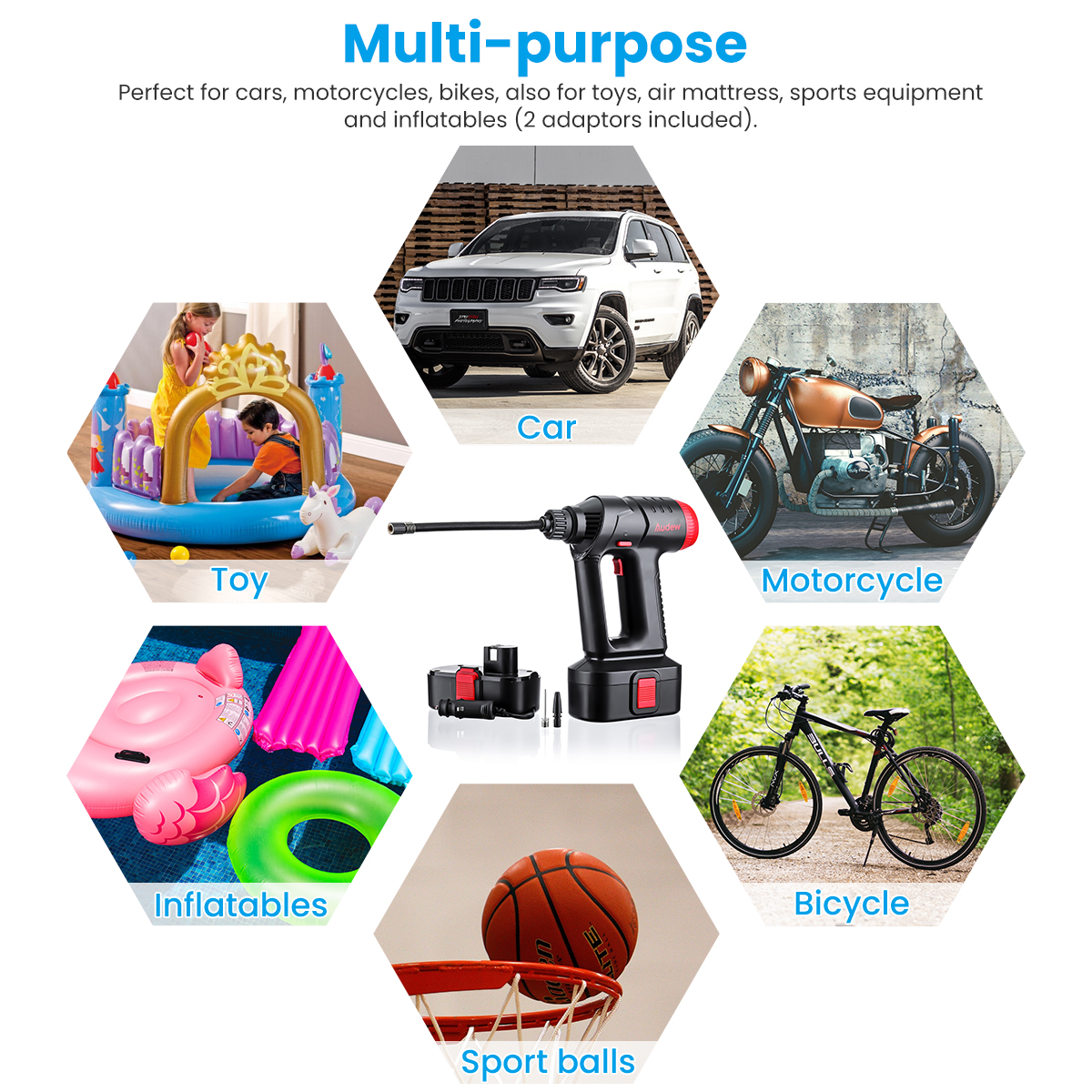 Image 3 - Audew 12V 160PSI Cordless Air Compressor Portable Tire Inflator Auto Hand Held Air Pump Digital LCD Rechargeable for Car Bike-in Inflatable Pump from Automobiles & Motorcycles