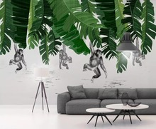Beibehang papel de parede Custom wallpaper banana leaf monkey plant TV background wall living room bedroom mural 3d wallpaper custom mural wallpaper southeast asian tropical green banana leaf wallpaper bedroom living room background wall decor wallpaper