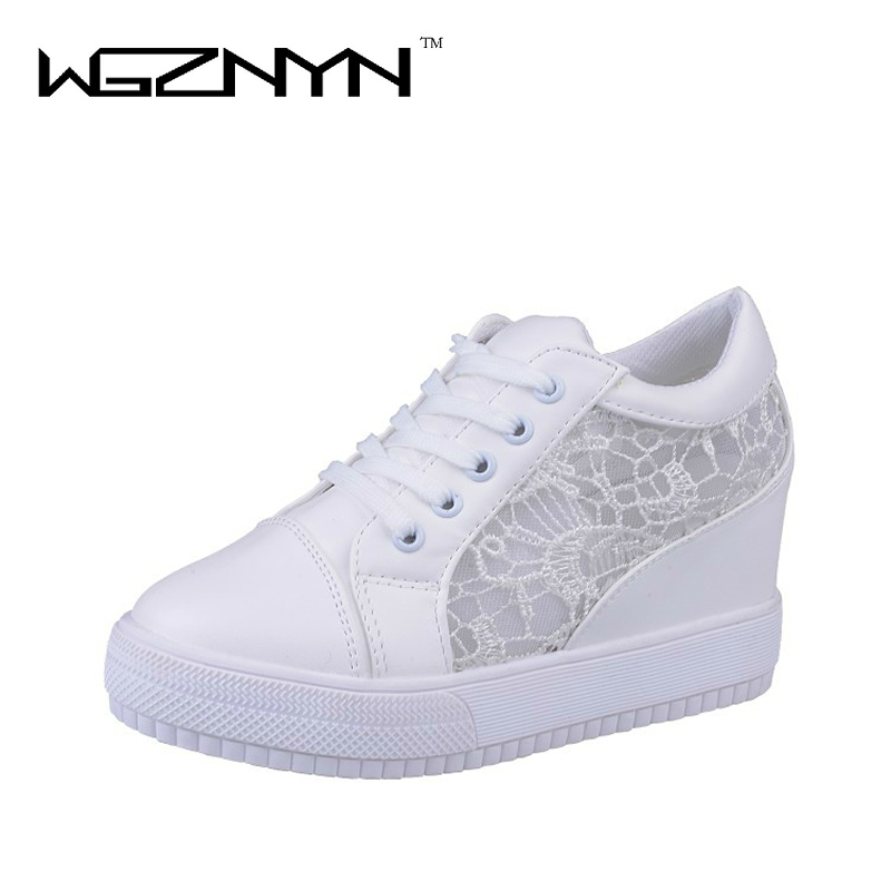 WGZNYN 2017 Summer Women Shoes Casual Cutouts Lace Canvas Shoes Hollow Floral Breathable Platform Shoe Sapato Feminino 4001 dreamshining summer women shoes casual cutouts lace canvas shoes hollow floral breathable platform flat shoe sapato feminino