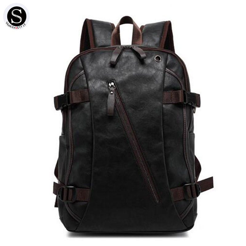 Senkey Style Waterproof Laptop Men Backpack Leather Middle Student School Bags For Teenagers High Capacity 2017 Designer Men Bag chic canvas leather british europe student shopping retro school book college laptop everyday travel daily middle size backpack