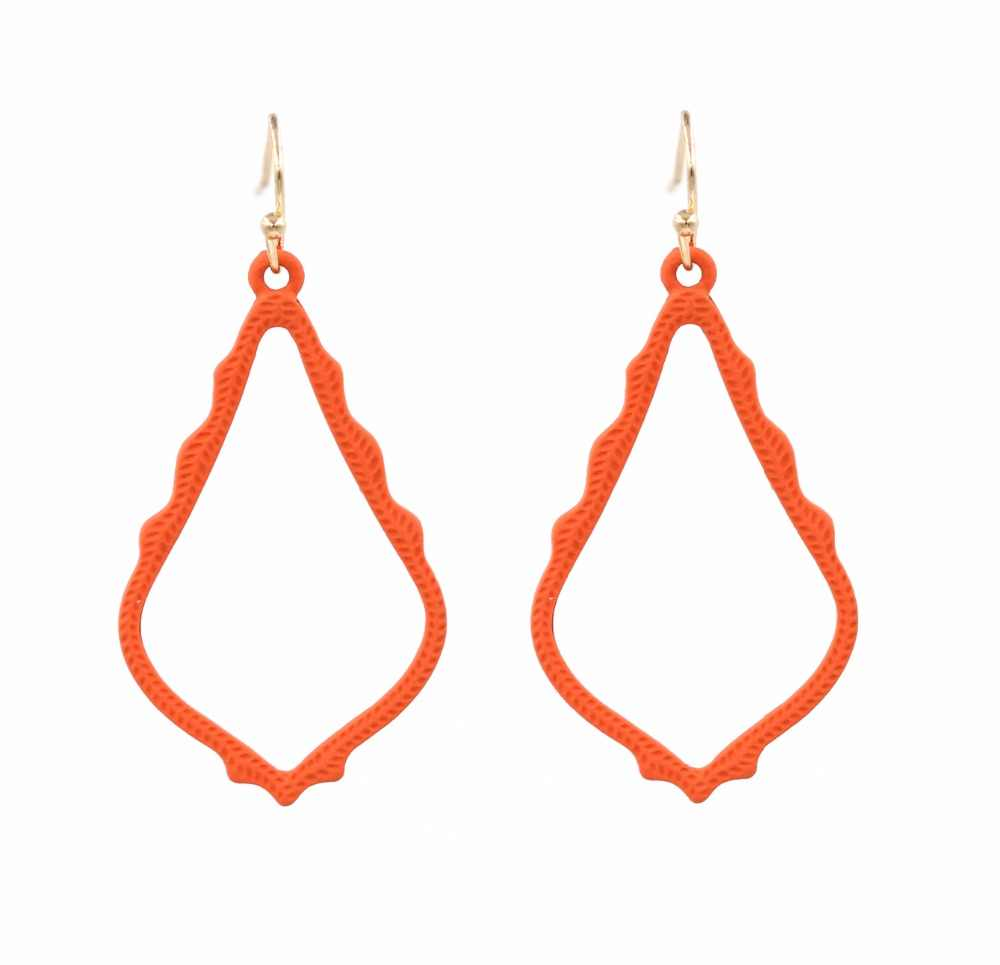 New fashion 4cm Painted Small Waterdrop Hollow Out Matte Drop Earring for Women