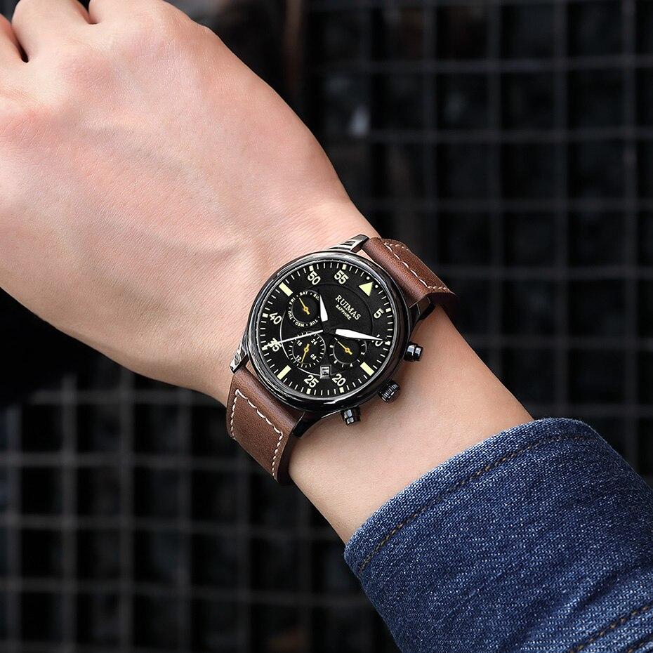 Image 4 - RUIMAS Men Fashion Genuine Leather Strap Watch Automatic Business  Mechanical Watches Male Clock Wristwatches Erkek Kol SaatiMechanical  Watches