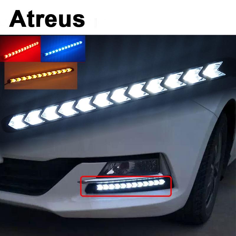 Atreus 2X Car with Yellow Steering Fog Day Lights Turn Signals LED For Lexus Honda Civic Opel astra h j Kia Rio Ceed Volvo Lada atreus 1pair car led fender side turn signals