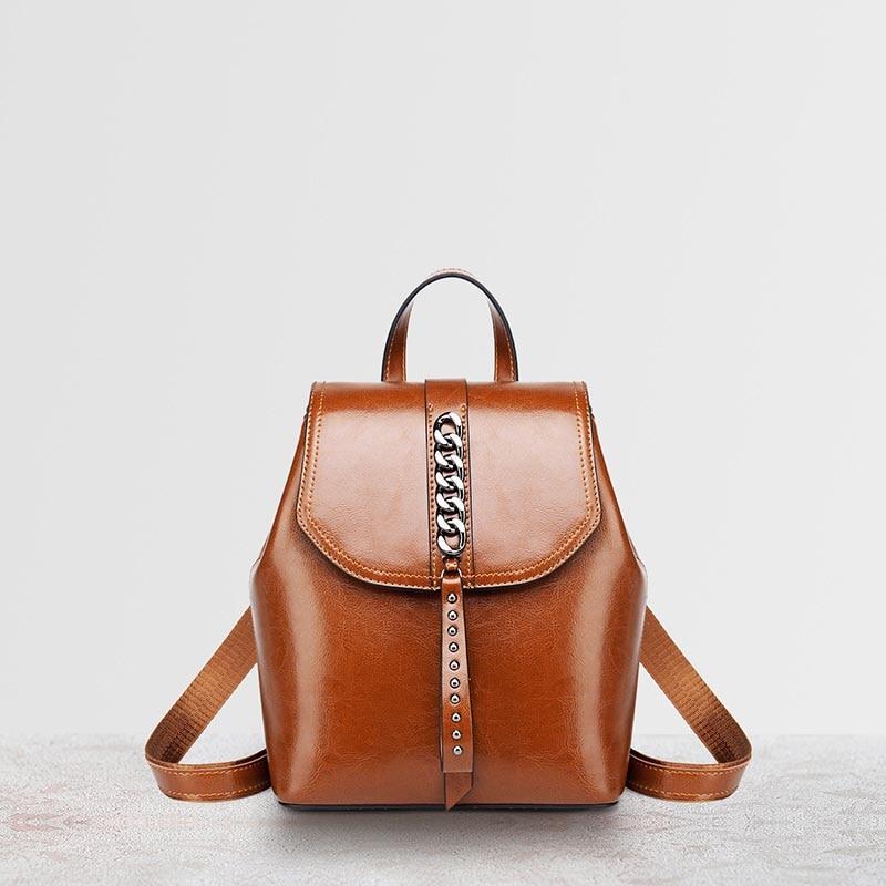 Модные рюкзак с цепочкой масло воск кожа коровы Ins черный Цвет рюкзаки женские путешествия покупки Повседневное сумка маленький школьный рюкзак книжный пакет - 5