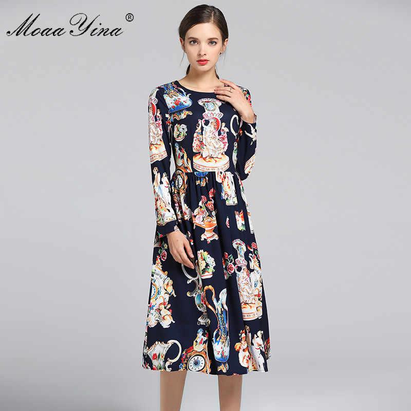 MoaaYina 2019 מסלול מעצב אופנה שמלת אביב סתיו נשים ארוך שרוול מלאך פרחוני בציר אלגנטי שמלת Vestidos