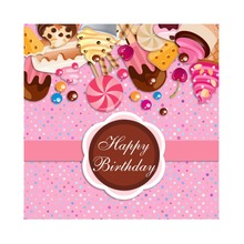 Laeacco Happy Birthday Candy Cake Butter biscuit Cartoon Stage Scene Photography Backgrounds Photographic Photo Studio Backdrops
