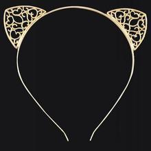 Cat уши Женщины Обручи Для Волос Cat Уши Hairband Тиару оголовье Горный Хрусталь Принцесса Лента Для Волос Позолоченные Ювелирные Изделия Волос Для Партии(China (Mainland))