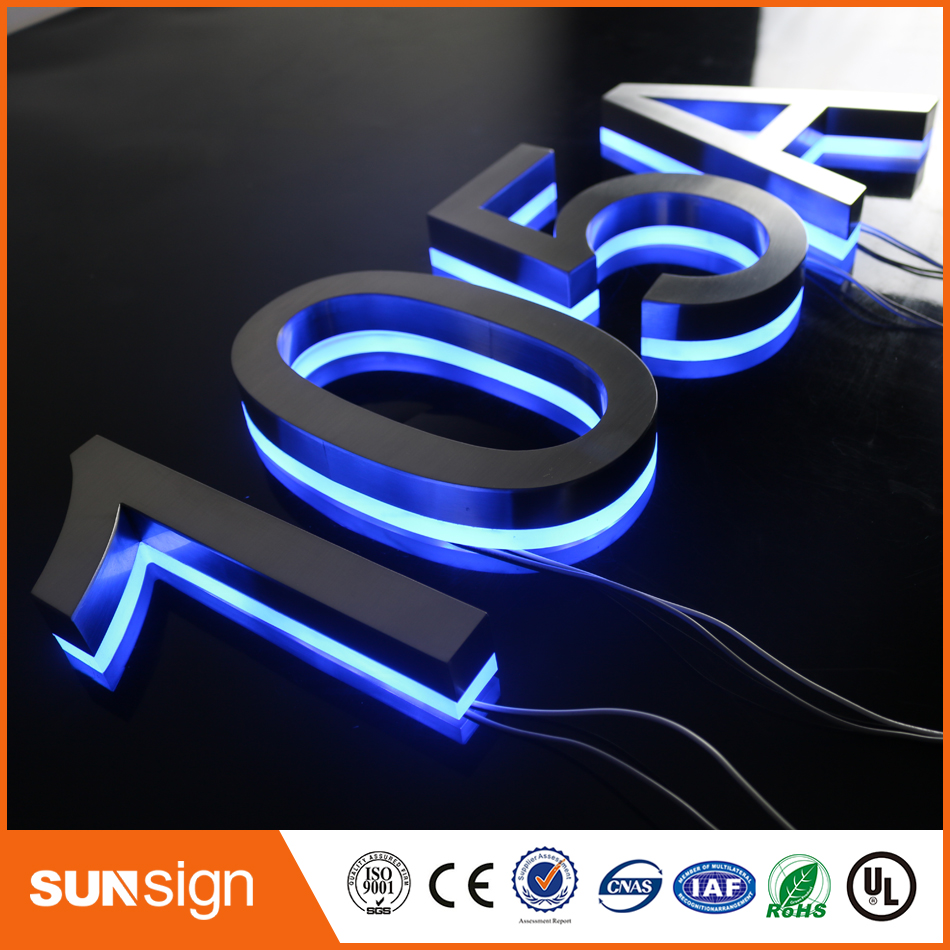 Customized 3D Backlit Led Letters Stainless Steel Channel Screwfix Door Numbers House Numbers For Ourtdoor Used