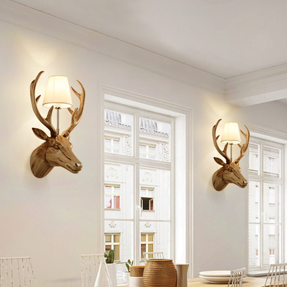 Deer Antler Wall Lamps White Black Lights Fixture Home Indoor Lighting Restaurant Dining Room Cafes