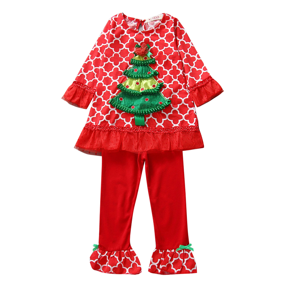 new 2pcs children christmas clothes set kids girls christmas tree printed lace long sleeve topspants outfits set for 04y