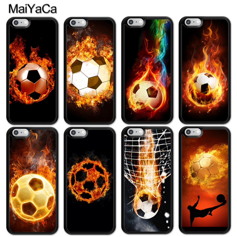 MaiYaCa Fire Football Ball Soccer Printed Soft Rubber Skin Phone Cases For iPhone 6 6S Plus 7 8 Plus X 5 5S SE Back Cover Coque