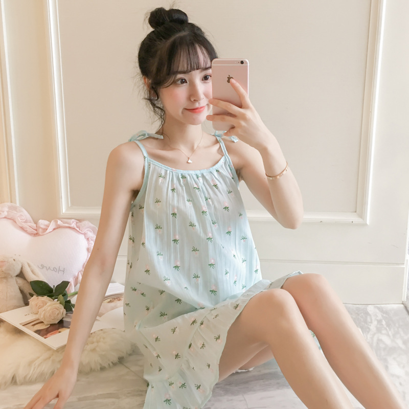 2019 Summer Women Nightgowns Sleepshirts Nightshirts Cotton Sleepwear Cute Breathable Spaghetti Strap Nightdress Nightwear