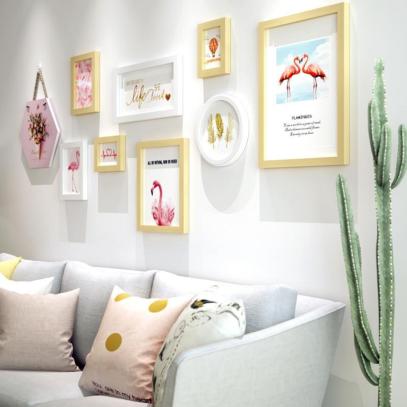 INKANEAR moderne rose flamants roses mode peinture cadre Photo ensemble en bois massif décor à la maison décoration murale bricolage HF9811
