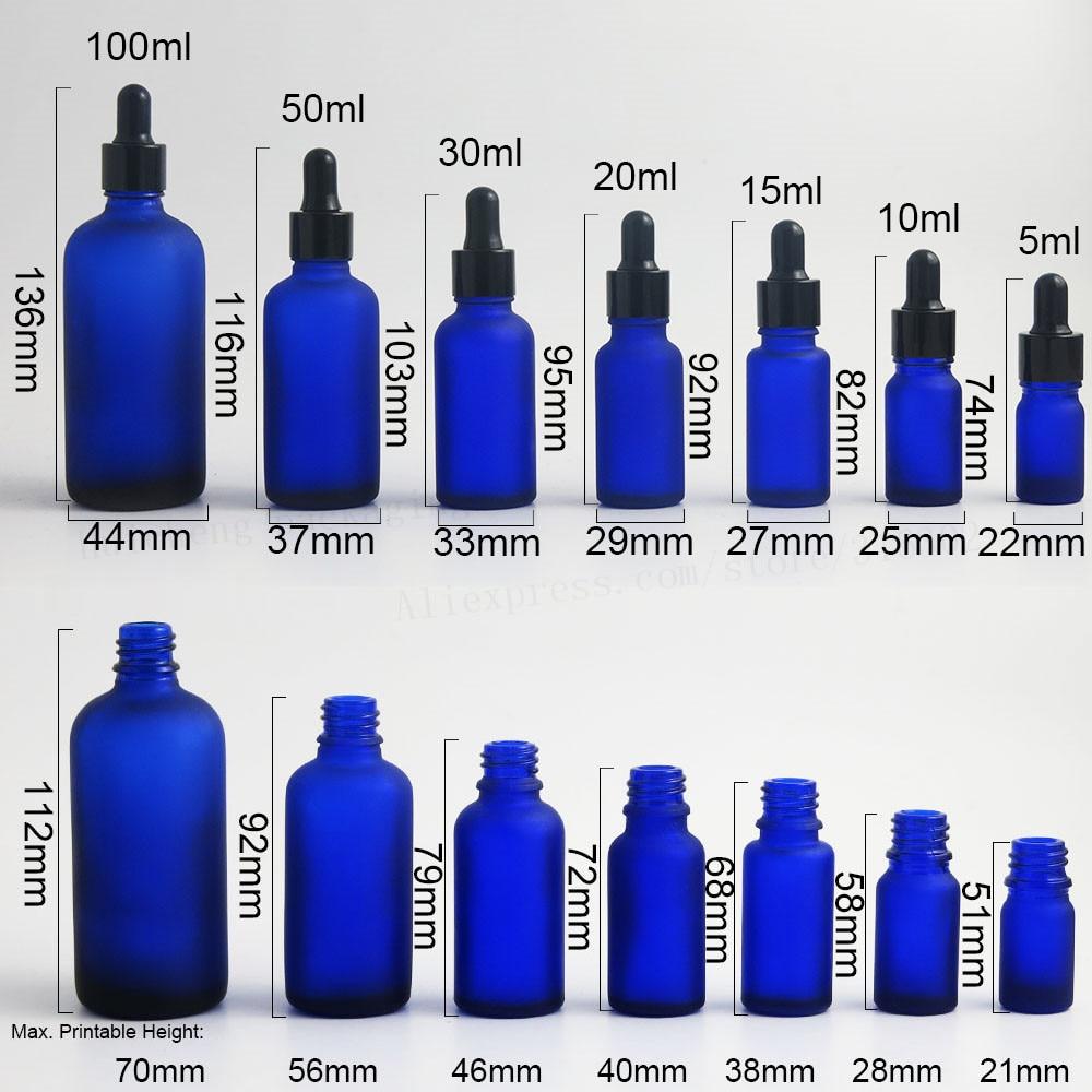 200 x 100ml 50ml 30ml 20ml 15ml 10ml 5ml Frost blue glass essential oil dropper bottle 1oz glass Piepette Dropper
